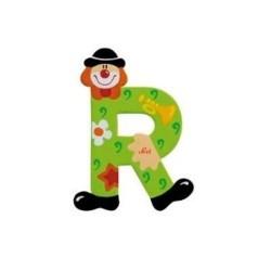 Lettre clown R en bois