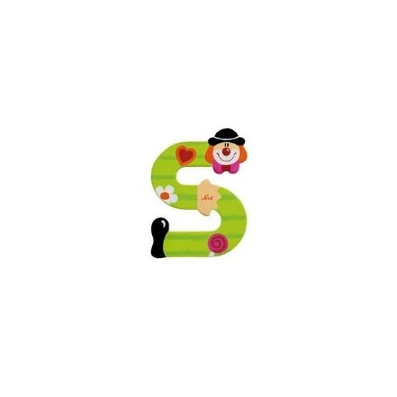 Lettre clown S en bois