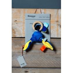 Hochet bleu avec anneau en bois
