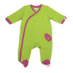 Pyjama vert anis et fushia en coton  3-6 mois