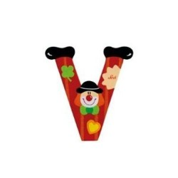 Lettre clown V en bois