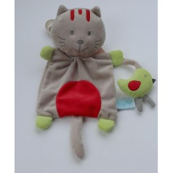 Doudou 'chat' gris-rouge