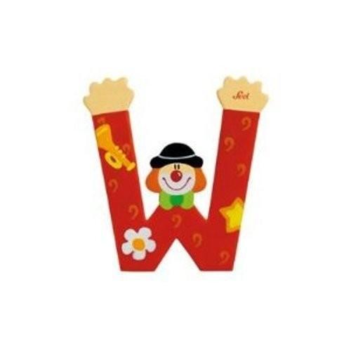 Lettre clown W en bois