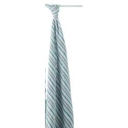 Maxi lange rayures bleues en mousseline de coton