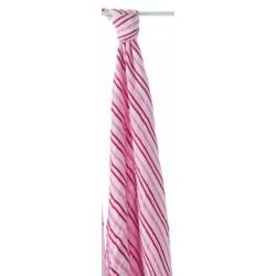 Maxi lange rayures roses  en mousseline de coton