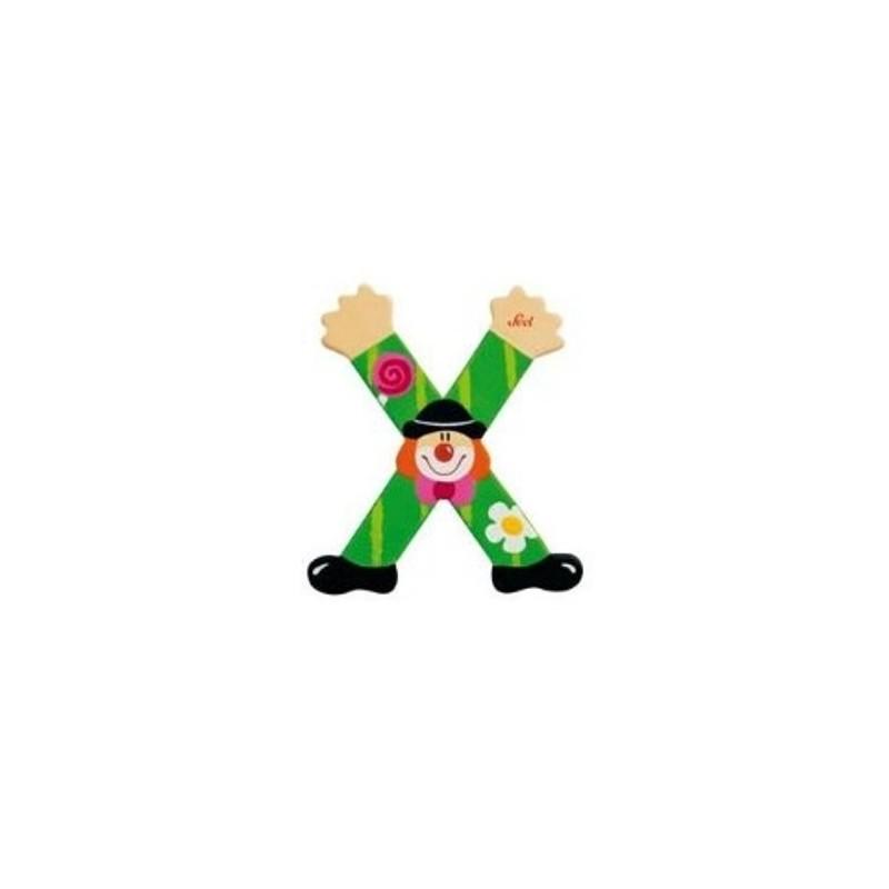 Lettre clown X en bois