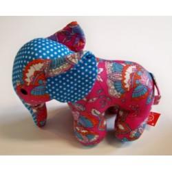 Eléphant  motifs bleu-rose-orange