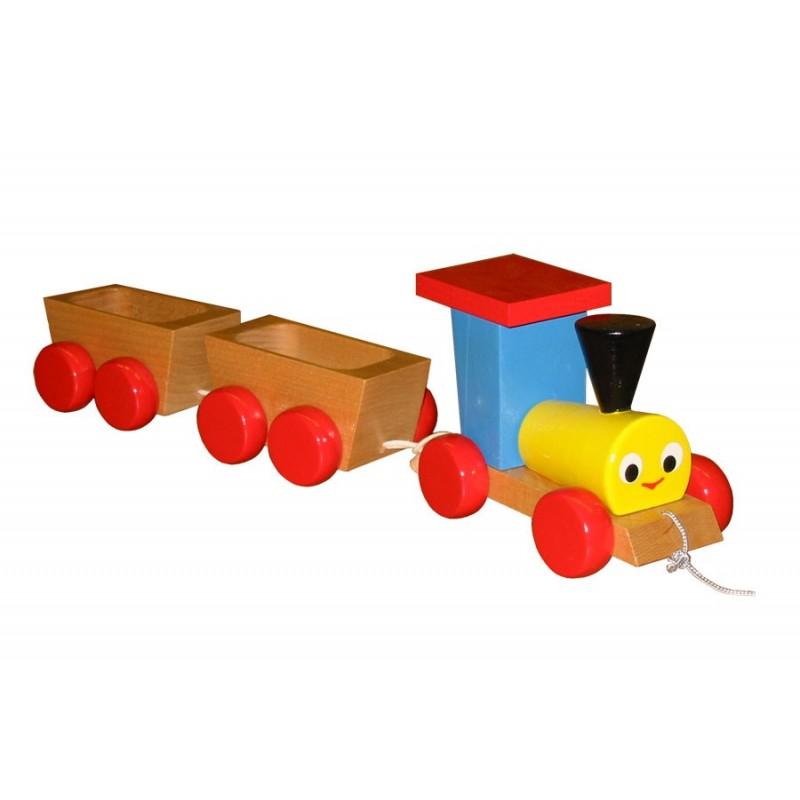 Train en bois, jouet à trainer