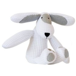 Chien doudou blanc 'Patch'