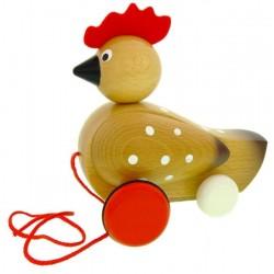 Poule 'Poupette' en bois-à tirer
