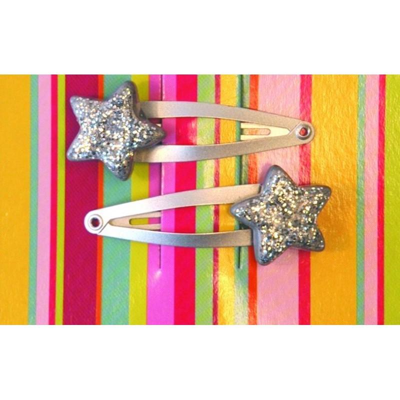 Paire de barrettes 'Silver Star'