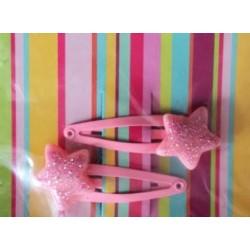 Paire de barrettes 'Stars Pink'