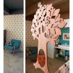Mobile en bambou '3 amis dans l'arbre'