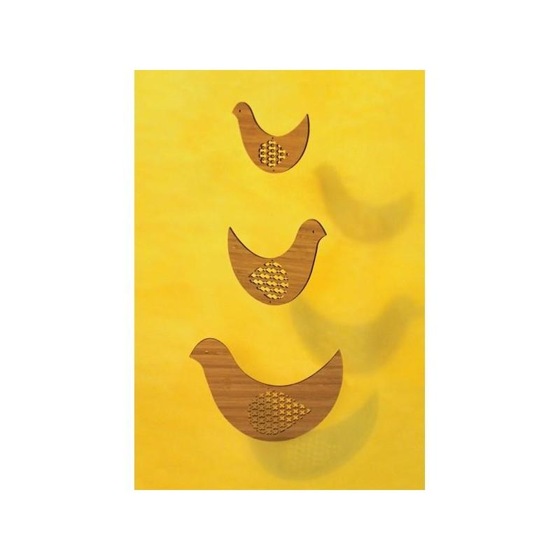 Mobile en bambou 'trio d'oiseaux'