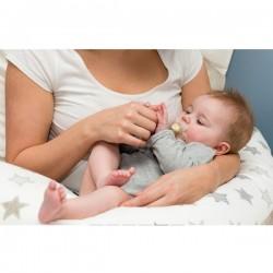 Coussin d'allaitement 2 en 1 Etoiles couleur Taupe'