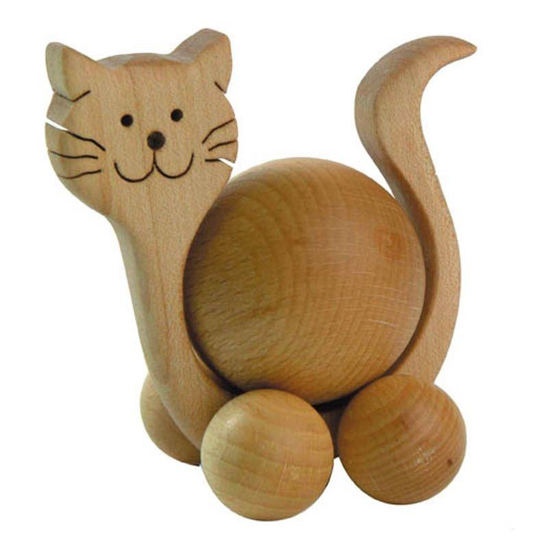 Chat en bois à boule à pousser