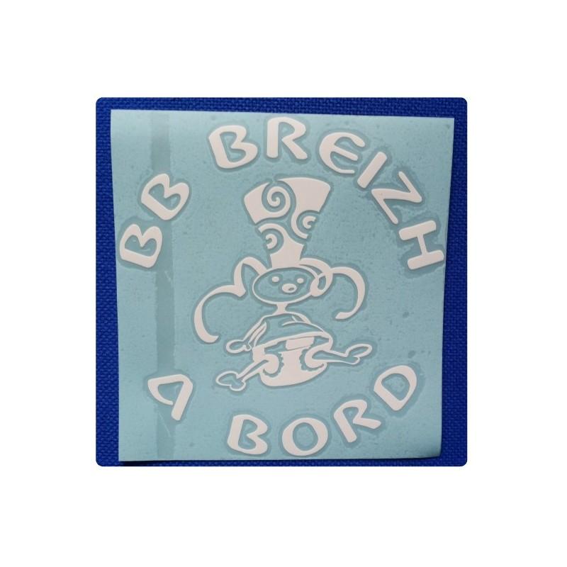 Sticker 'BB Breizh à Bord' blanc