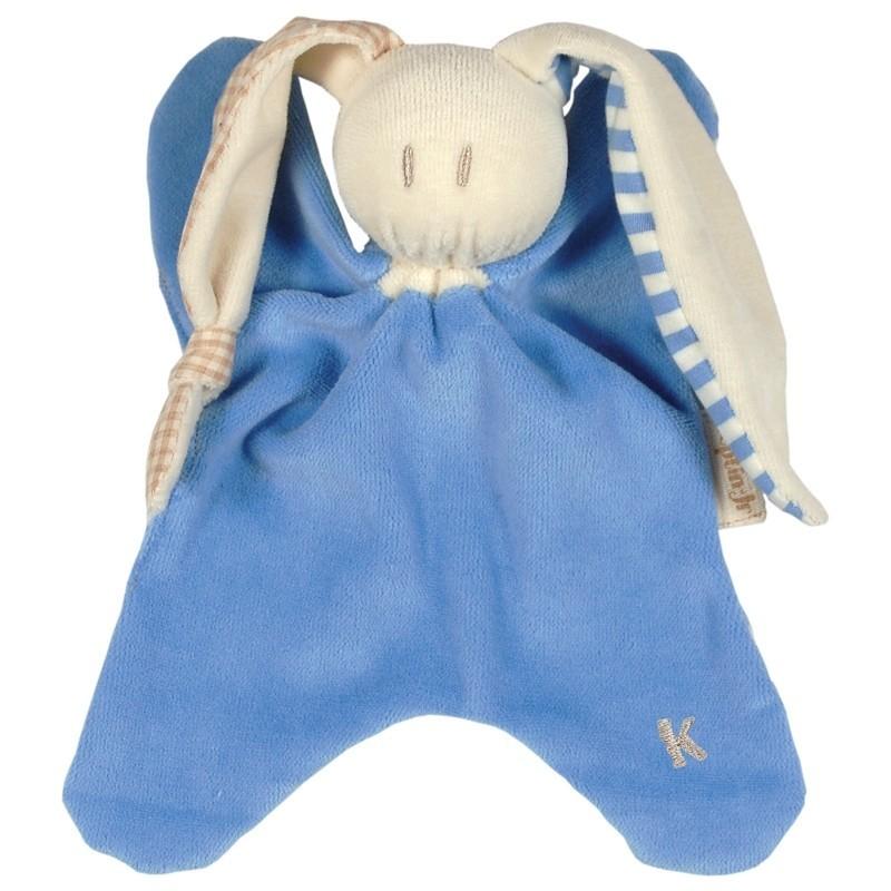Doudou bio bleu oreilles à carreaux et rayures Keptin-Jr