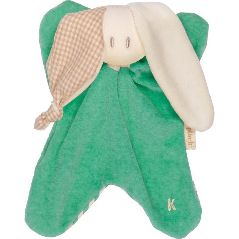 Doudou bio vert oreilles à carreaux et rayures