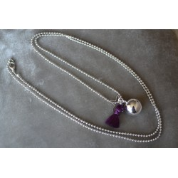 Bola de grossesse Plaqué Argent Gypsy pompon violet