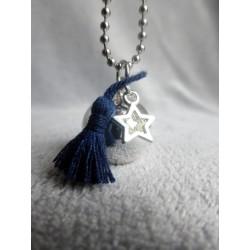 Bola de grossesse Plaqué Argent Gypsy pompon bleu marine