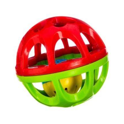 Balle hochet grelot vert-rouge