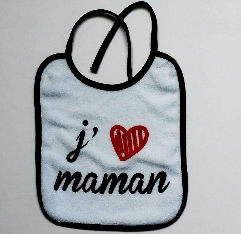 Bavoir blanc  'J'aime maman'