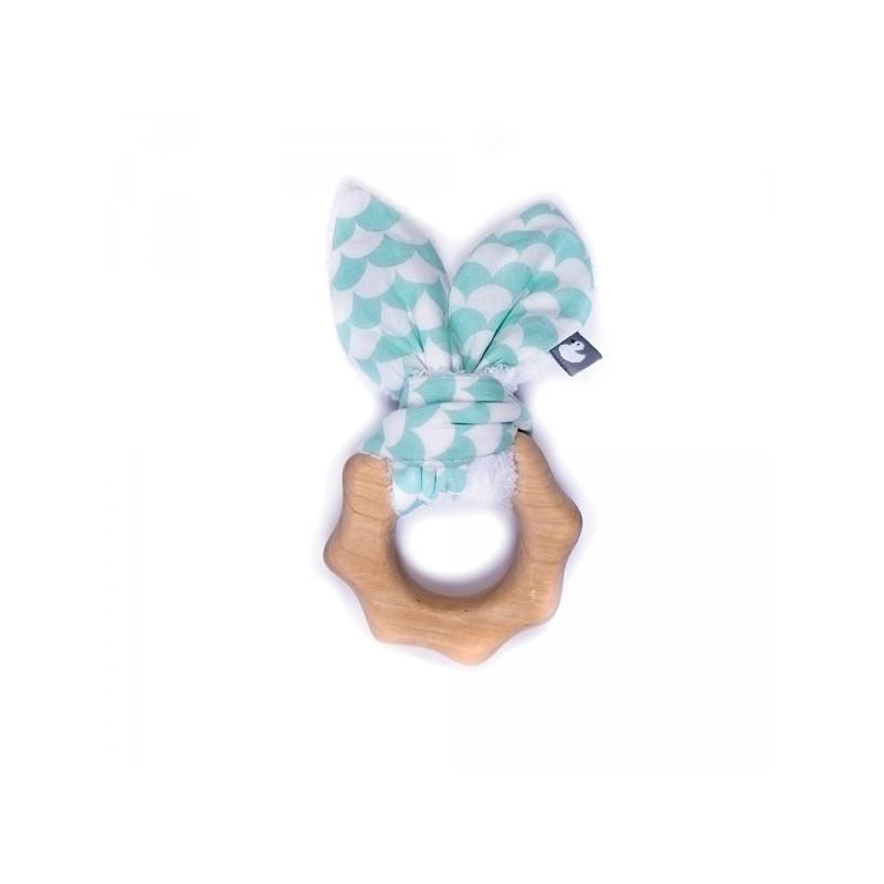 Hochet de dentition en bois- Ecailles vert menthe BB&Co