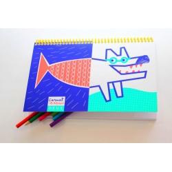Carnet de coloriage 'Exquis Loup'