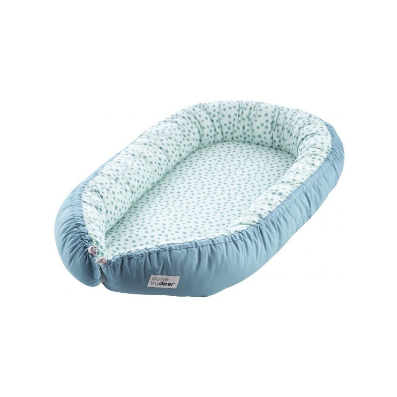 """Couffin en tissu """"Cosy Babynest Happy Dots"""" bleu Done by Deer"""