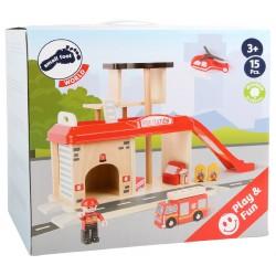 Caserne des pompiers et ses accessoires En bois
