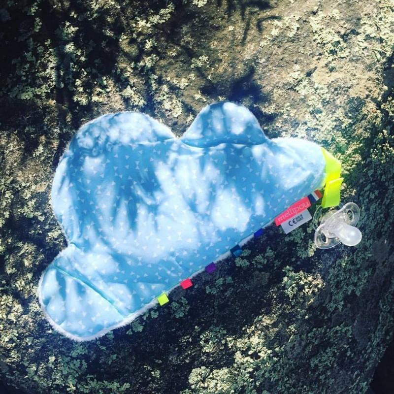Doudou attache-sucette Pouet Pouet Nuage Bleu Mellipou