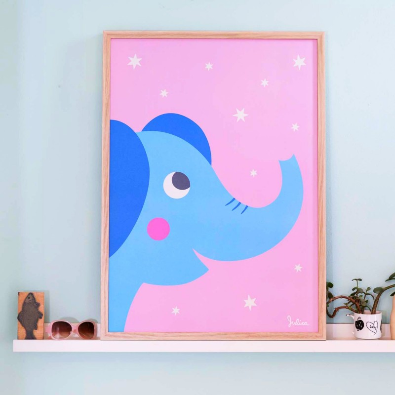Poster Phosphorescent 'Eléphant' Julica