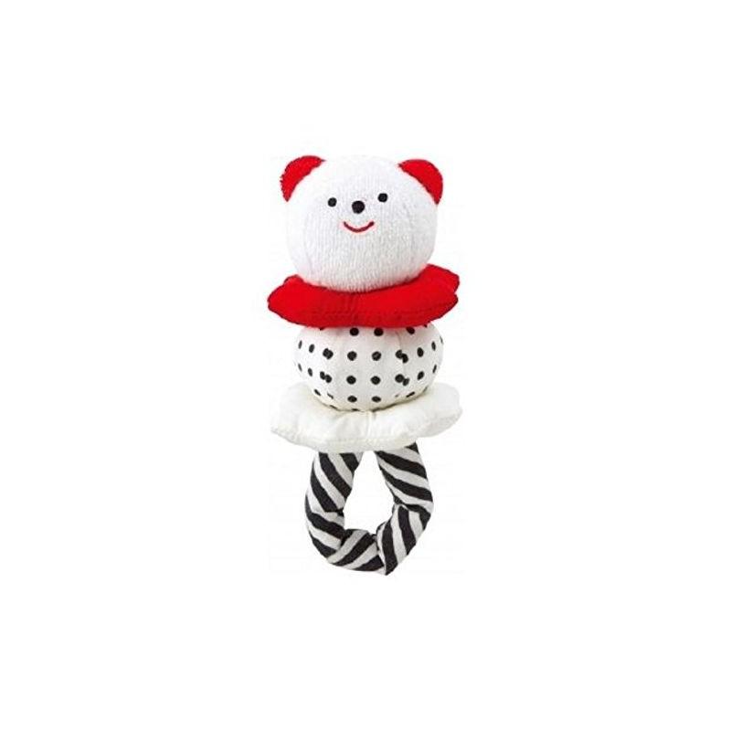 Hochet rouge, noir et blanc avec anneau- 'Combi'