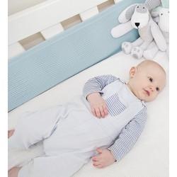 Tour de lit aéré et respirant-2 cotés en bleu