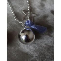 Bola de grossesse Plaqué Argent Gypsy pompon bleu