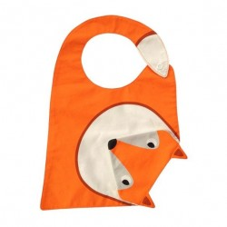 "Bavoir orange avec bavette ""renard"" intégrée"