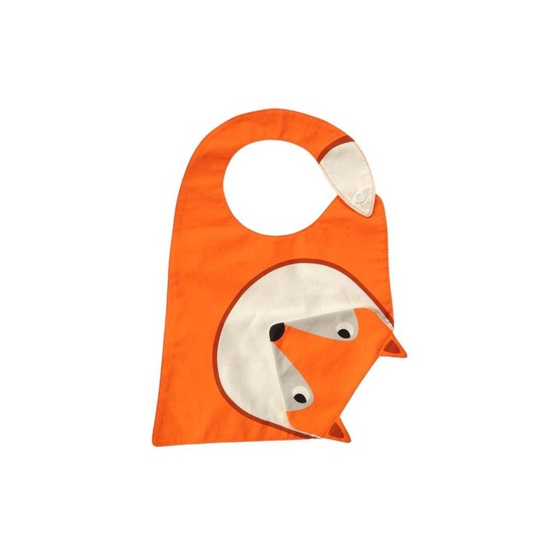 "Bavoir orange avec bavette ""renard"" intégrée Julica"