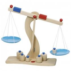 Balance en bois + 6 poids