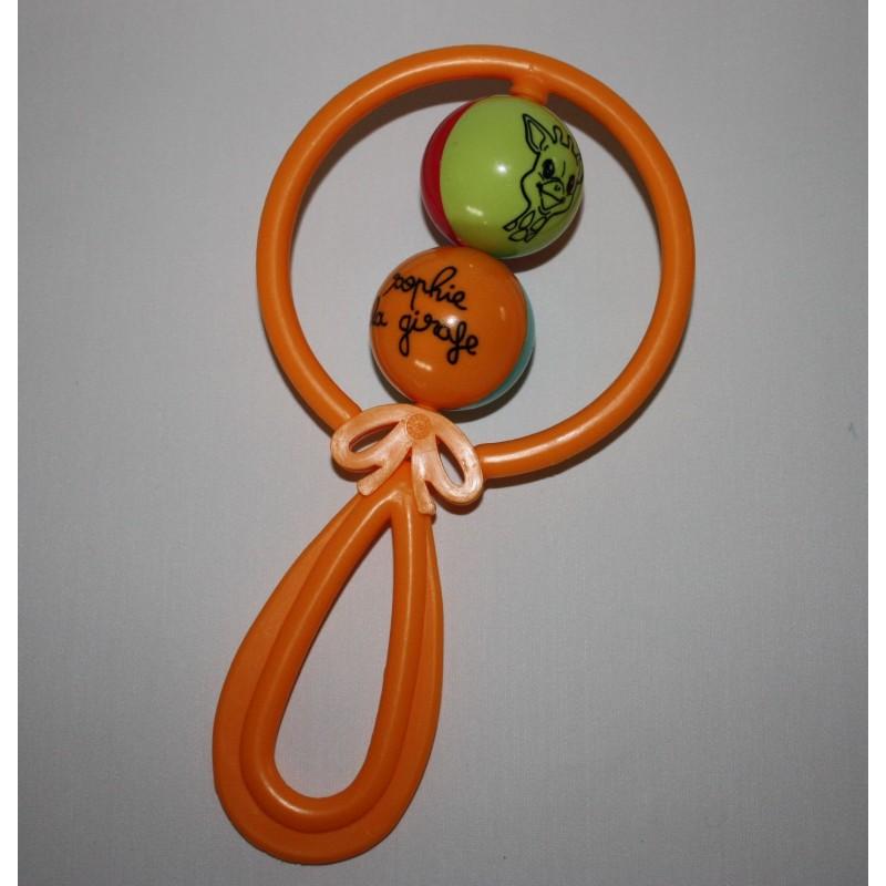 Hochet 2 boules 'Sophie la Girafe' orange