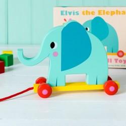 """Jouet à tirer à pousser """"Elvis"""" l'Eléphant"""