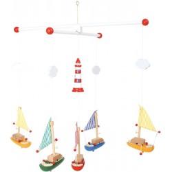 Mobile avec bateaux, phare et nuages