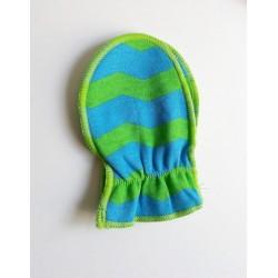 Moufles 0-3 mois 'en bleu et vert'