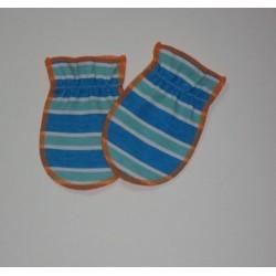 Moufles naissance  'Orange-rayures bleues'