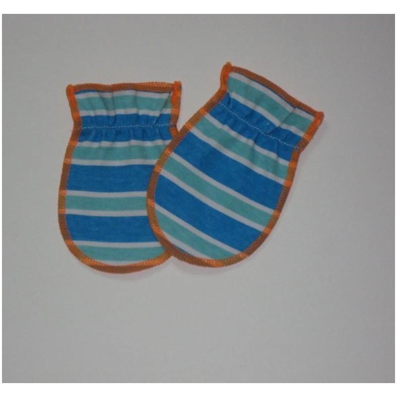 Moufles 0-3 mois 'Orange-rayures bleues'