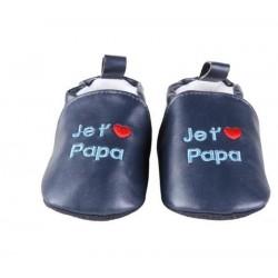 Chaussons bleu marine 'je t'aime papa'  6-12 mois