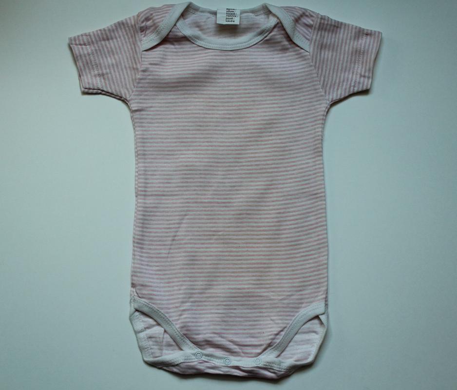 Body rayé rose-blanc 12 mois