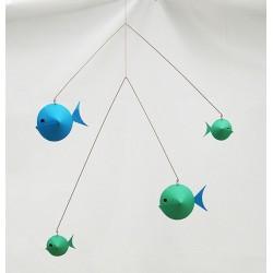 Mobile 'Fish Mobile' bleu/vert