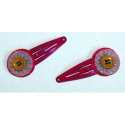 Paire de barrettes 'Fluor Flower' rose