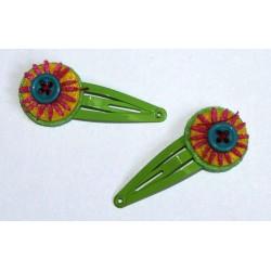 Paire de barrettes 'Fluor Flower' vert